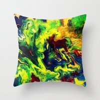 super hero Throw Pillows featuring Super Hero by justforspiteandmalicedesigns