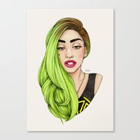 lady Canvas Prints featuring Lady Neon by Helen Green