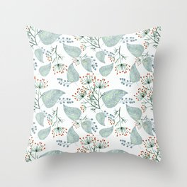 Delicate floral pattern on white. Throw Pillow