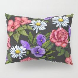 Flowers on Black Background, Original Art Pillow Sham
