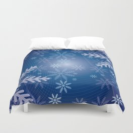 Blue Snowflakes Christmas Duvet Cover