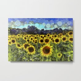 Sunflowers Van Goth Metal Print