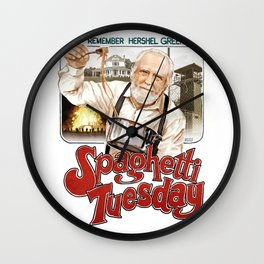 Hershel Greene Spaghetti Tuesday Wall Clock
