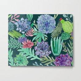 Watercolor Succulent Collage Metal Print