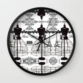 Vintage black white Paris French dress mannequin pattern Wall Clock