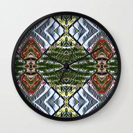 Royal Poinciana Fronds Diamond OP Pattern Wall Clock