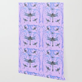 DELICATE BLUE & LILAC DRAGONFLIES ABSTRACT ART Wallpaper