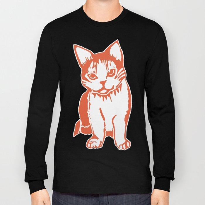 Orange and White Cat Long Sleeve T-shirt