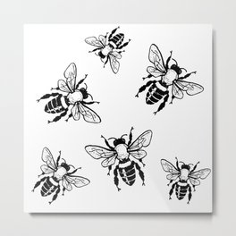 Bees Black Pattern Honeybees Insect Bugs Metal Print