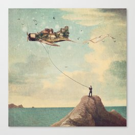 City Kite Afternoon Canvas Print