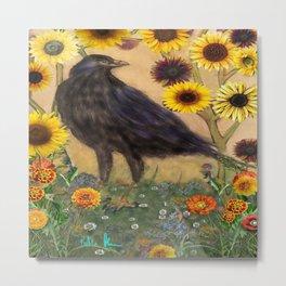 Garden Visitor -Watercolor Metal Print
