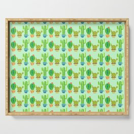 Green cactus in cute pots Serving Tray