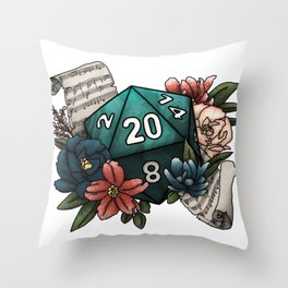 Bard Class D20 - Tabletop Gaming Dice Throw Pillow