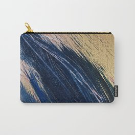 Rise: an abstract mixed-media landscape in blue pink and gold by Alyssa Hamilton Art Carry-All Pouch