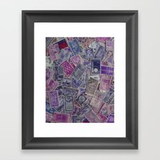 Vintage Postage Stamp Collection - Purple Framed Art Print