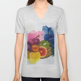 fruity stillife in watercolor Unisex V-Neck