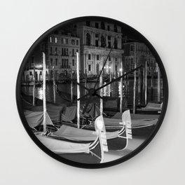 Gondolas in the night Venice Italy black and white Wall Clock