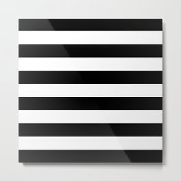 Black Bold Stripes Metal Print
