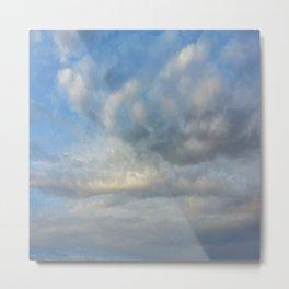 Beautiful Pastel Blue Sky Cloudscape Symmetrical Rorschach Art Metal Print