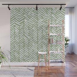 Boho Herringbone Pattern, Sage Green and White Wall Mural
