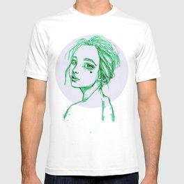 Green Girl in a Grey Circle T-shirt