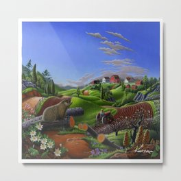Spring On The Farm Rural Country Groundhog Landscape Metal Print