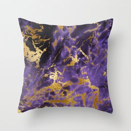Ultra Violet Gold Marble Metallic Foil Throw Pillow