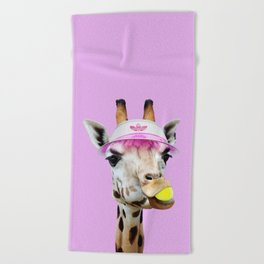 TENNIS GIRAFFE Beach Towel