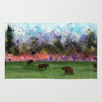 chicago bulls Area & Throw Rugs featuring Chicago Skyline and Bulls In Pasture by Jen Hynds