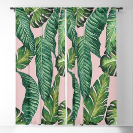 Jungle Leaves, Banana, Monstera II Pink #society6 Blackout Curtain