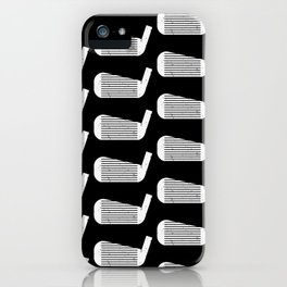 Golf Club Head Vintage Pattern (Black/White) iPhone Case