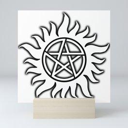 Anti Possession Sigil Black Glow Transp Mini Art Print
