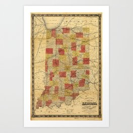 Map of Indiana showing Railroads and Townships (1858) Art Print