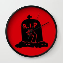Zombie Exiting Grave (Silhouette) Wall Clock