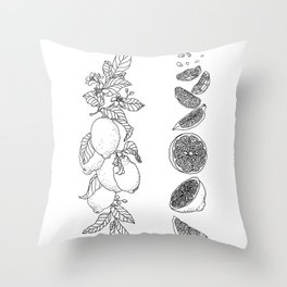 Citrus Branch of Lemons and Slices of Fruit Throw Pillow