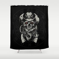 cowboy Shower Curtains featuring Skull Cowboy by DavinciArt