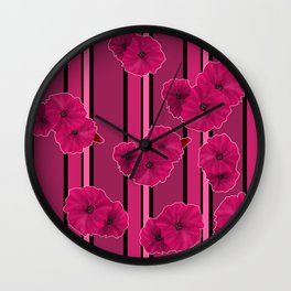 Floral pattern on striped background Wall Clock