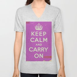 Keep Calm and Carry On Vintage worn Unisex V-Neck