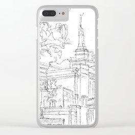 Melbourne AU LDS Temple Sketch Clear iPhone Case