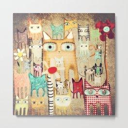 Bunch of Cats Metal Print