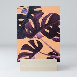 Blue & Lilac Tropical Leaves Mini Art Print