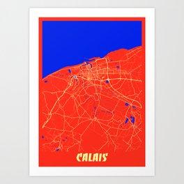 Calais - France Retro City Map Art Print