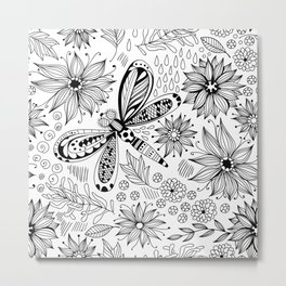 Dragonfly and flowers doodle Metal Print