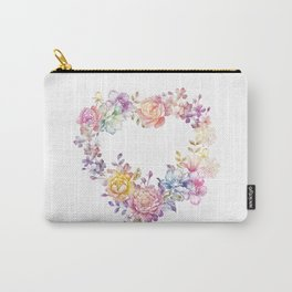 Watercolor Flower Wreath Carry-All Pouch