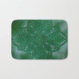 bright opal green lace star Bath Mat