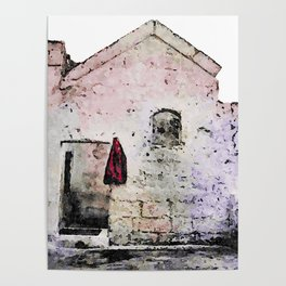 Sassi di Matera with red jacket Poster