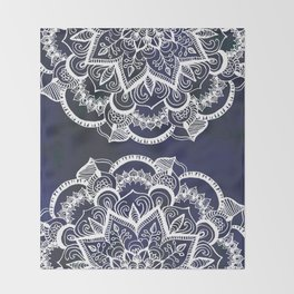 White Feather Mandala on Navy Throw Blanket