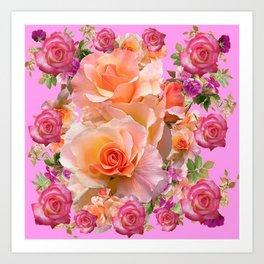 PINK-YELLOW ANTIQUE ROSES VIGNETTE Art Print