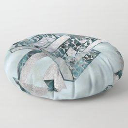 Abstract 3D Geometric Labradorite on Mother of pearl Floor Pillow