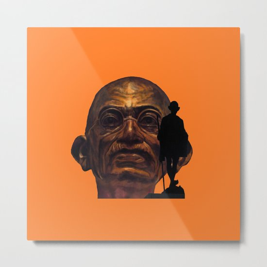 Gandhi - the walk - orange version Metal Print
